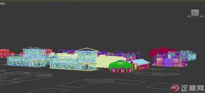 中式风格农产品市场建筑设计3dmax模型(4)