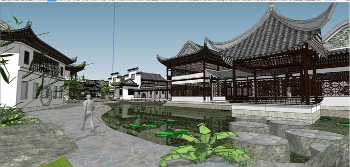 苏州四大名园之拙政园建筑与景观SU模型(1)
