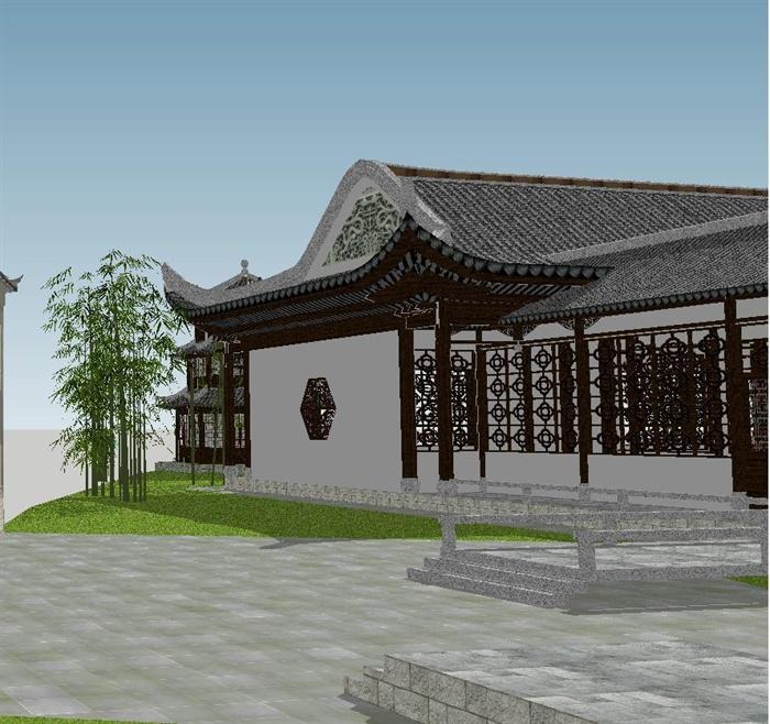 苏州四大名园之拙政园建筑与景观SU模型(7)