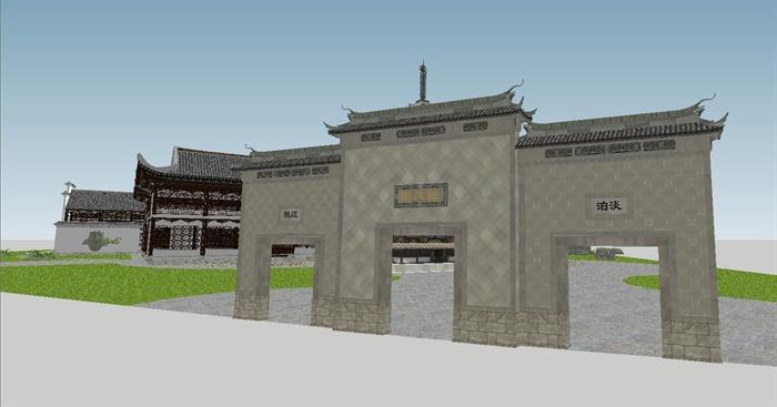 苏州四大名园之拙政园建筑与景观SU模型(9)