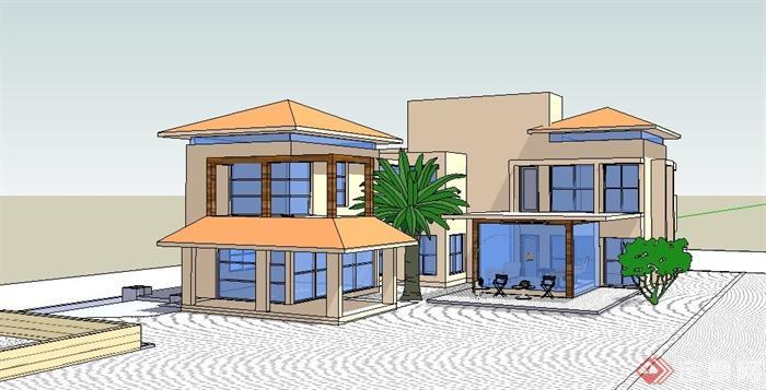 某现代简约居住别墅建筑设计su模型[原创]