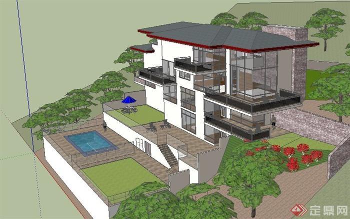 现代半山别墅住宅建筑设计su模型(4)