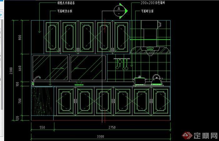 附件包含cad方案图,设计细致,欧式风格橱柜设计,有标注,可供参考设计