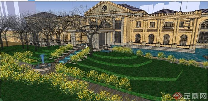 某精致法式风格公馆建筑设计SU模型(6)