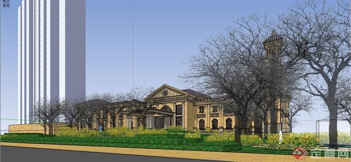 某精致法式风格公馆建筑设计SU模型(7)