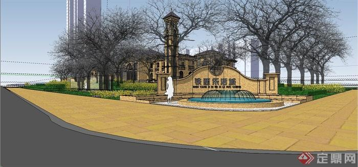 某精致法式风格公馆建筑设计SU模型(10)