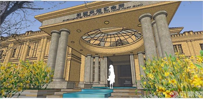 某精致法式风格公馆建筑设计SU模型(9)