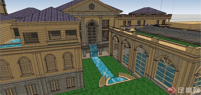 某精致法式风格公馆建筑设计SU模型(12)