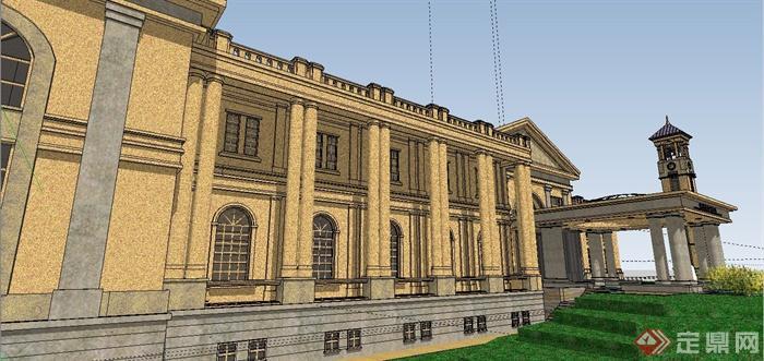 某精致法式风格公馆建筑设计SU模型(11)