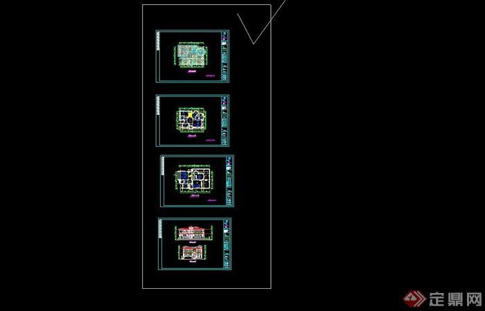 某欧式风格别墅建筑设计cad方案含jpg效果图[原创]