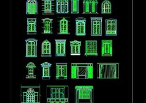欧式传统建筑元素窗户窗台设计cad方案