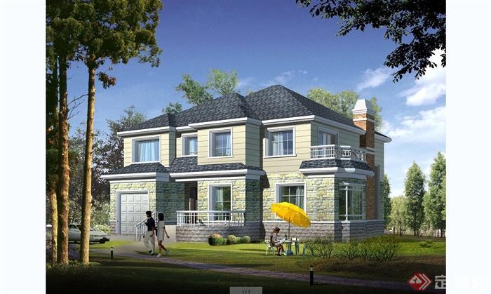 某细致欧式风格别墅建筑设计cad方案含jpg效果图[原创图片