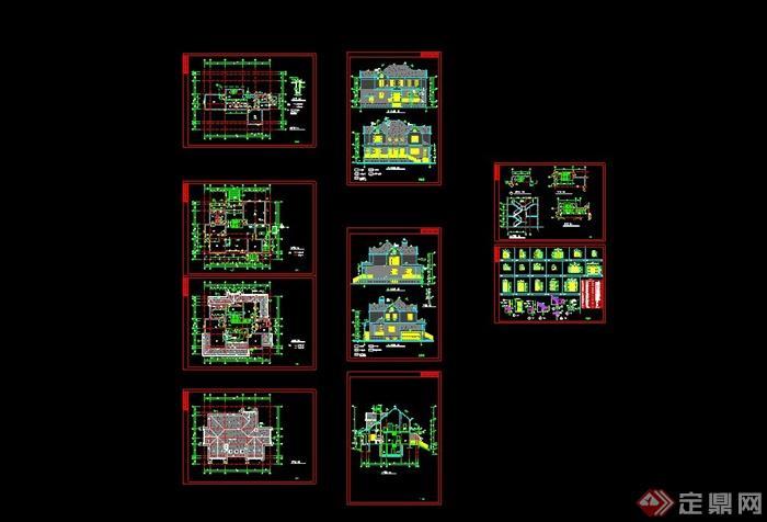 某欧式风格独栋别墅建筑设计CAD施工图含JPG效果图,附件包含SU模型和JPG效果图,CAD图纸制作细致整洁,有标注,可供设计参考使用,有需要可自行下载。