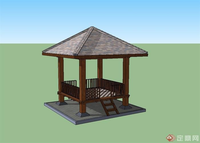 某欧式风格详细木质小亭子设计su模型[原创]