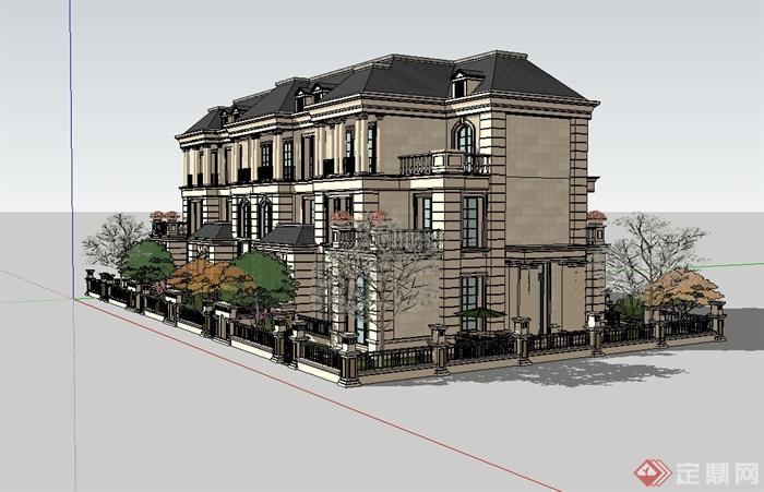 某欧式风格创新联排别墅建筑设计su模型(2)