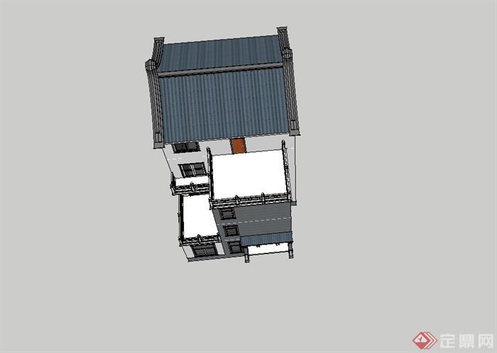 4层新中式农村别墅自建房建筑设计su模型