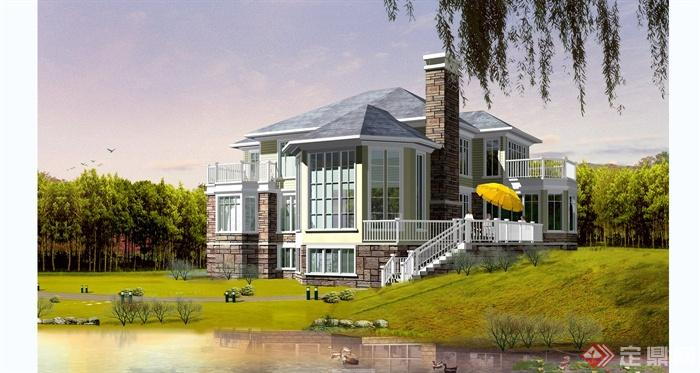 某欧式风格独栋别墅建筑设计cad方案含jpg效果图