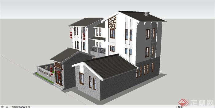某细致新中式风格独栋别墅建筑设计su模型(2)图片