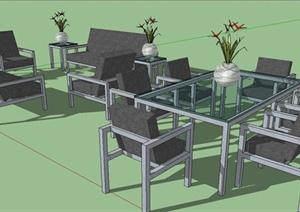 某现代风格户外桌椅设计SU(草图大师)模型