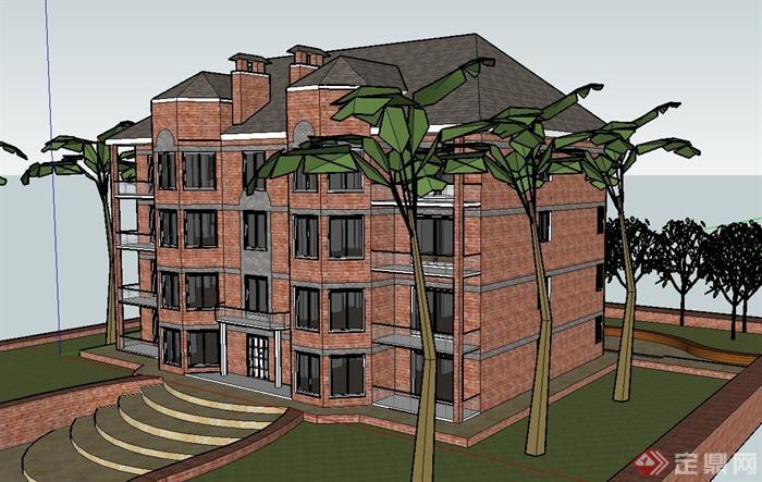 某欧式风格住宅公寓大楼设计su模型[原创]