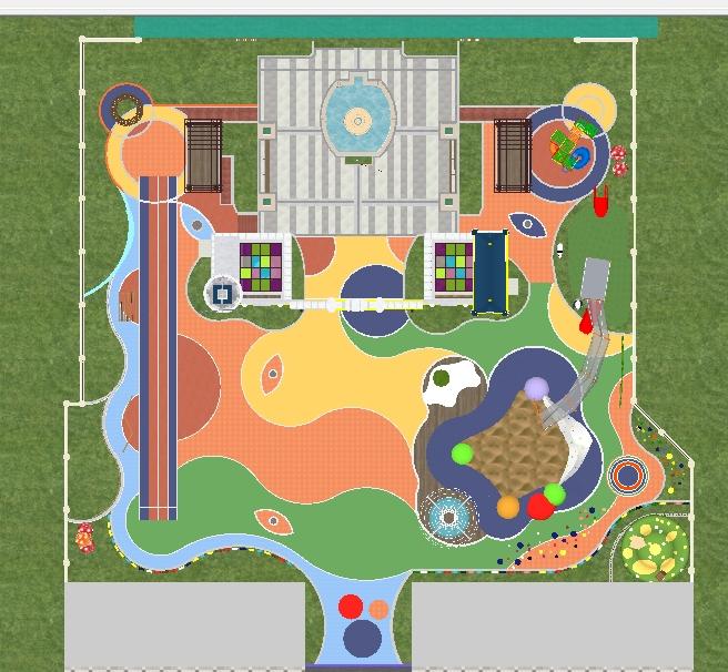 幼儿园室外活动场地景观方案su精致设计模型(4)