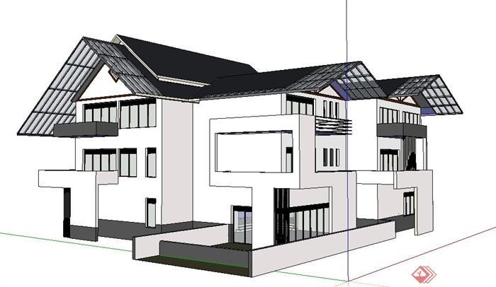 现代新中式独栋别墅建筑su模型(2)