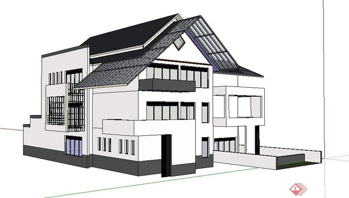 现代新中式独栋别墅建筑su模型(1)