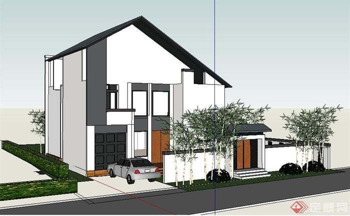 现代新中式住宅别墅建筑su模型(1)图片