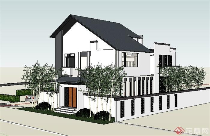 现代新中式住宅别墅建筑su模型(2)
