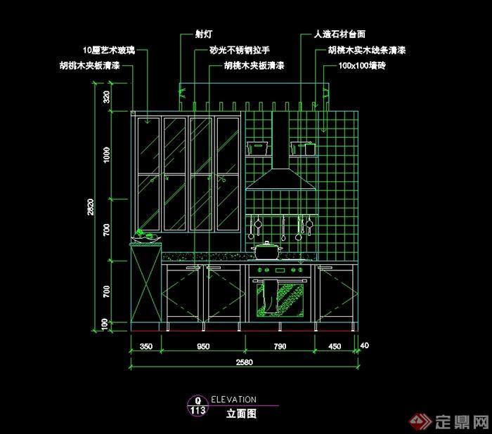 现代风格详细厨房立面图设计CAD图块