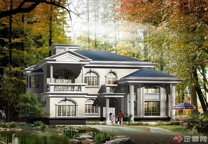 某美式风格多层别墅建筑楼设计cad方案,方案包含了别墅庭院景观平面图,方案绘制简单,具有一定的使用价值,欢迎下载。