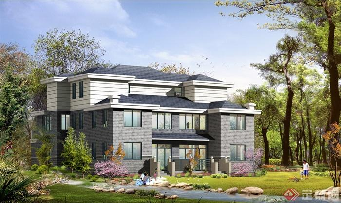 美式风格详细完整的多层别墅建筑设计cad施工图[原创]