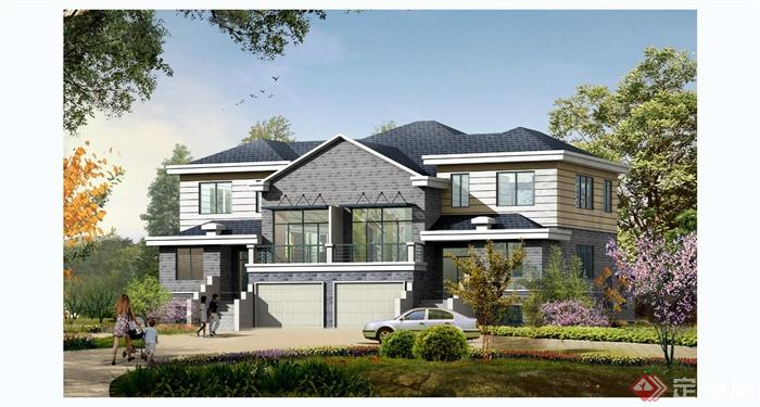 某欧式风格独栋别墅住宅建筑设计cad施工图含jpg效果图[原创]
