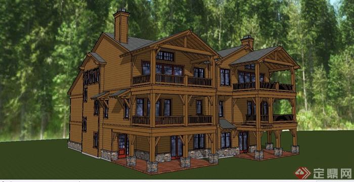 某英式风格木屋别墅建筑设计su模型(1)