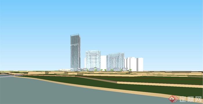 某现代风格办公住宅综合区建筑设计SU模型[原