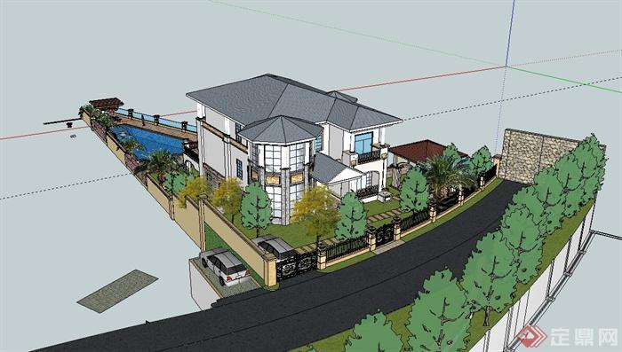 美式风格详细别墅建筑及庭院设计su模型(3)