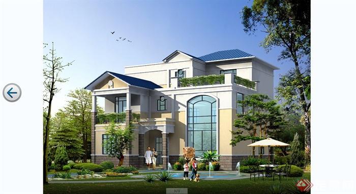 某欧式风格简约别墅建筑设计cad施工图含jpg效果图[原创]图片