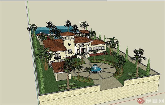 欧式风格含庭院别墅建筑设计su模型[原创]