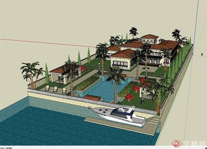 欧式风格含庭院别墅建筑设计SU模型,模型为欧式风格,模型包含了庭院景观设计,模型有材质贴图,有需要请下载使用。