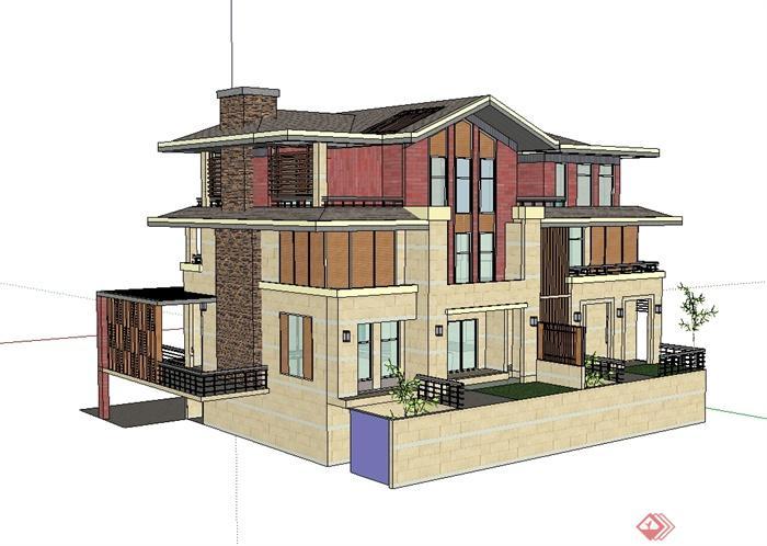 新中式风格详细独栋别墅设计su模型(1)图片
