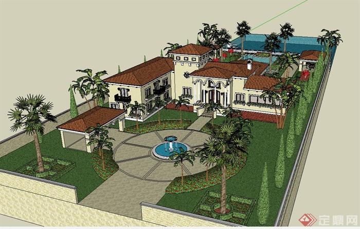 欧式风格详细多层别墅建筑及庭院设计su模型[原创]