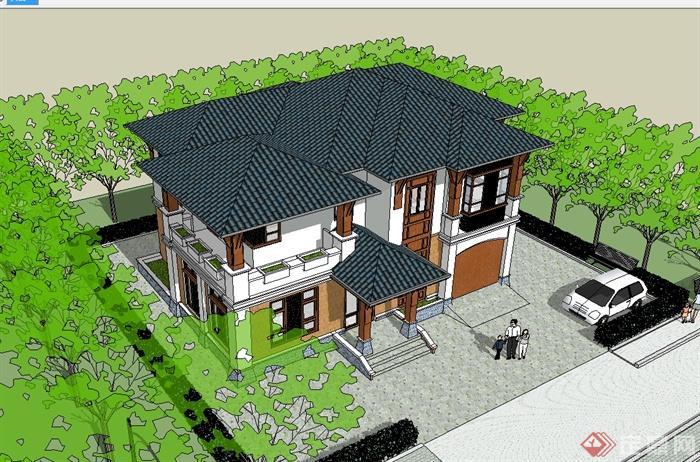 现代中式风格多层完整的别墅设计su模型(1)