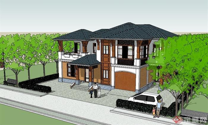 现代中式风格多层完整的别墅设计su模型(2)