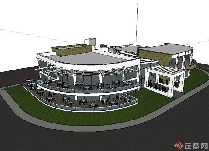 某现代风格两层餐饮建筑楼设计su模型[原创]