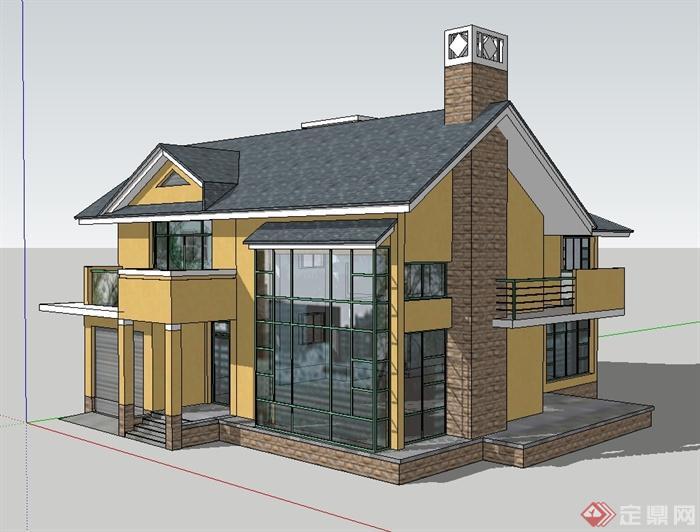 欧式风格详细多层别墅建筑楼设计su模型[原创]