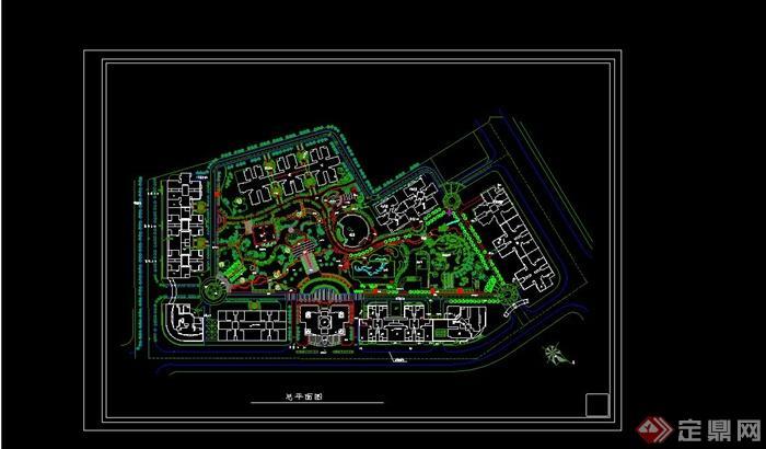 某现代风格住宅小区公园景观规划设计cad方案[原创]