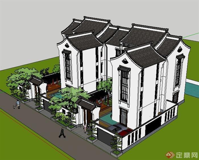 徽派新中式风格双拼别墅建筑设计su模型(3)图片