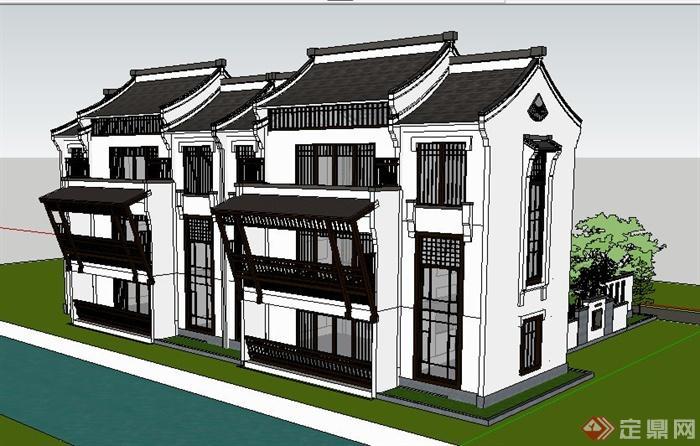 徽派新中式风格双拼别墅建筑设计su模型[原创]图片