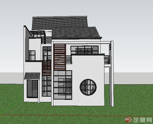 徽派中式风格独栋别墅建筑su模型(2)图片