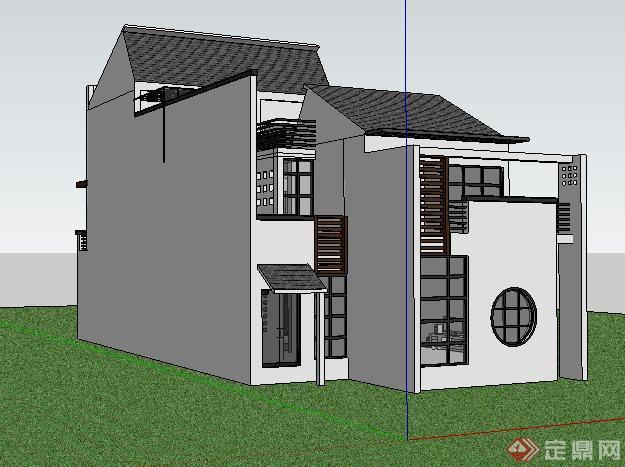 徽派中式风格独栋别墅建筑su模型(3)图片